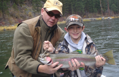 Lew and Wil with Wil's first steelhead